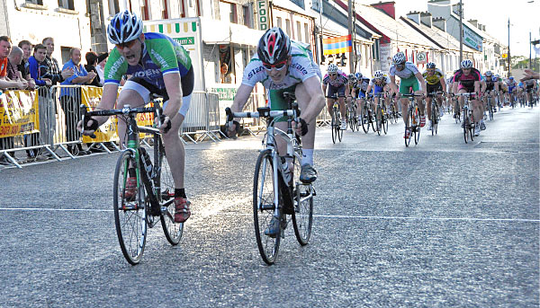 Brian Stewart edges out Conor Clarke for stage 1 in Ardara (Photo – Marian Lamb – Cycling Ulster)