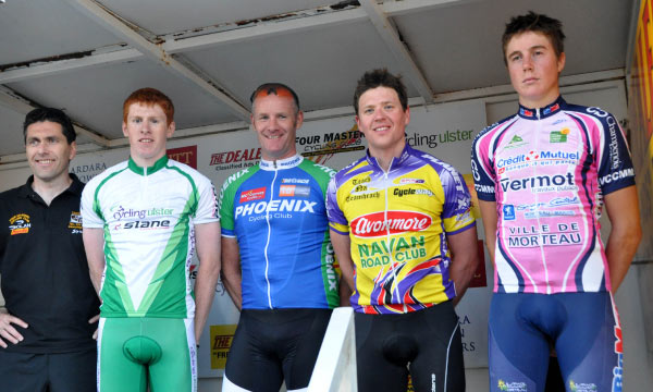 The top three (L to R) of Clarke, Stewart and Kenny, with KOH leader Sean Hambrook, far right. (Photo Marian Lamb – Cycling Ulster)