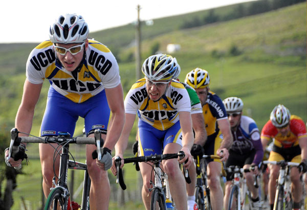 UCD pile the pressure on into Ardara this evening (Photo: Marian Lamb – Cycling Ulster)