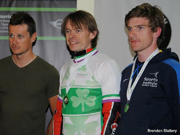 The elite men's podium L to R: Roche in 3rd, winner Hutchinson and Irvine in second place (Photo: Brendan Slattery)