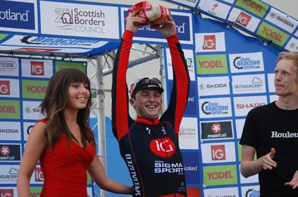 Say Cheese: Hawkins gets his most aggressive rider award in Dumfries yesterday (Photo: Simon Cordner)