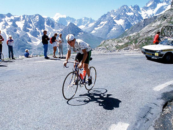 Kimmage battles the gradient in his RMO days; now he's taken on McQuaid and Verbruggen