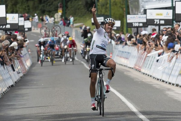 Photo: French talent Julian Alaphillippe sprints to final stage victory at the tour de l'Ain. � (stickybottle.com)