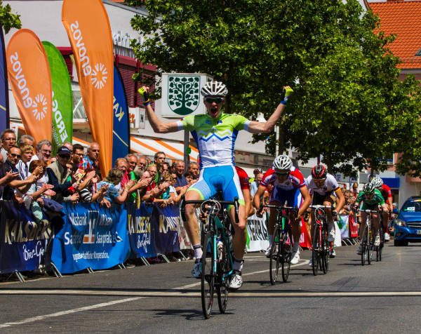 Photo: Aged just 18 years, Kristjan Kumar tested positive for EPO on the very day he denied Eddie Dunbar overall victory at the Trofeo Karlsberg Nations Cup stage race in Germany back in June. Kumar, now provisionally suspended by the UCI, is seen here winning stage 2a of the race, with Dunbar in 5th in the green of Ireland..