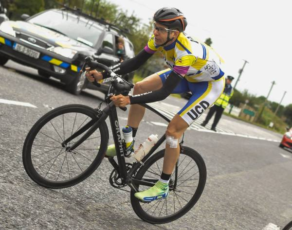 Photo: One of the best riders in the country despite being well into his 40s, Greg Swinand says older riders need to get the intensity of their training right; pictured here by Sean Rowe wearing the yellow jersey at the Wexford Two Day.