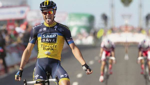Photo: Roche junior's finest moment with Tinkoff-Saxo, winning stage 2 of the Vuelta last year. He would also pull on the race leader's jersey a few days later.