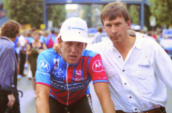 A young Lance Armstrong with Paul Sherwin back in 1992; he insists now his evidence about doping in the sport has protected nobody (Photo: Sirotti).