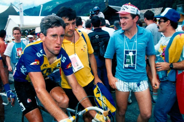 Sean Kelly believes the junior scene is very weak and the R�s far too early, while getting onto his An Post-CRC team is too easy for riders. Pictured at the end of stage 10 of the 1988 Tour de France in Morzine (Photo: Sirotti).
