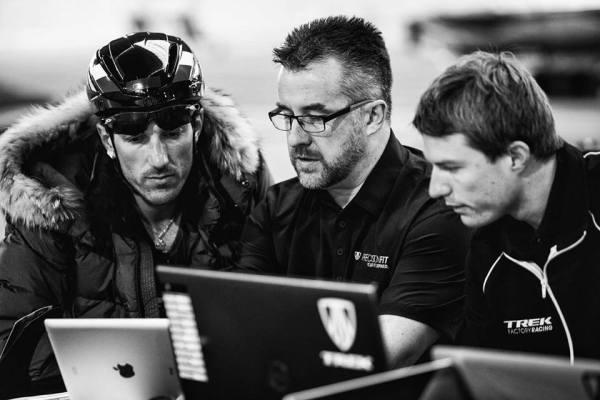 Photo: Dubliner Paraic McGlynn with classics king Fabian Cancellara, taking him through the data that ensures he gets maximum force into his bike.