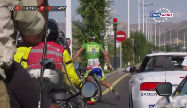 New footage shows Sagan sharply changed line before moto crash