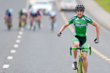 14 July 2016; Robert O'Leary of Ireland National Team celebrates as he approaches the finish line to win Stage 3 of the 2016 Scott Bicycles Junior Tour of Ireland, Ennis, Co. Clare. Picture credit: Stephen McMahon/SPORTSFILE