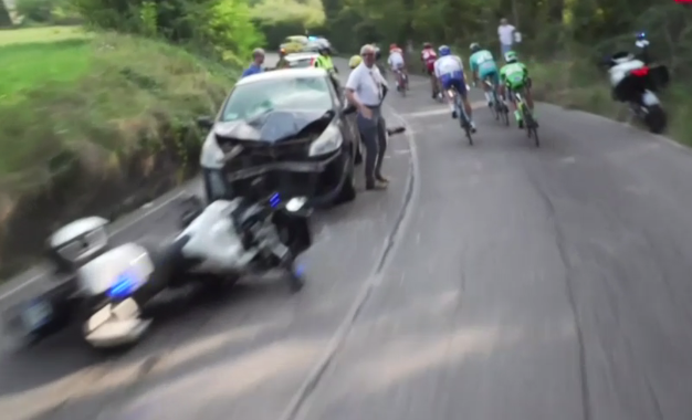 video police moto hits civilian car head on at italian pro race sticky bottle sticky bottle. Black Bedroom Furniture Sets. Home Design Ideas