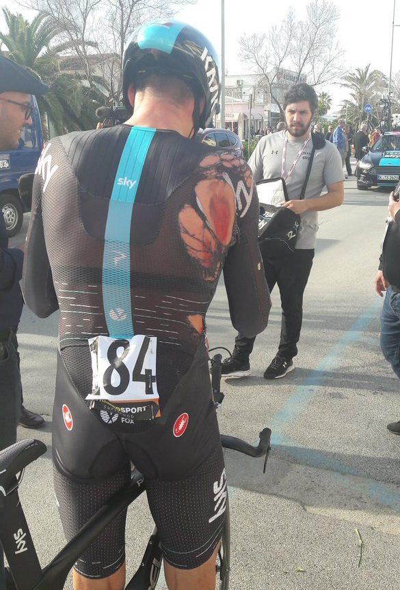 Video  Team Sky rider s carbon front wheel disintegrates mid TT ... ff29c6343
