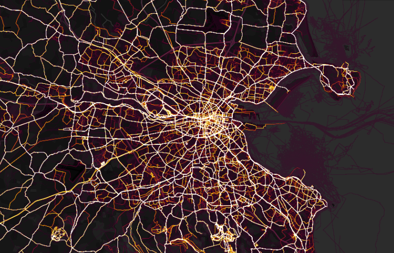 Map Of Dublin Ireland And Surrounding Area.Strava Most Detailed Cycling Heat Map Dublin Ireland Sticky Bottle