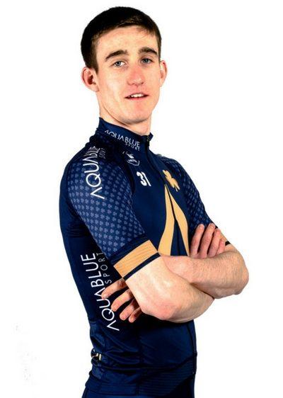 cyclist Eddie Dunbar Aqua Blue Sport